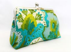 Green and Turquoise floral print clutch purse