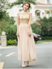 Royal Style Ladies Elegant Boat Neck Studded Lace Patchwork Chiffon Expansion Bottom Apricot Petite Maxi Dress
