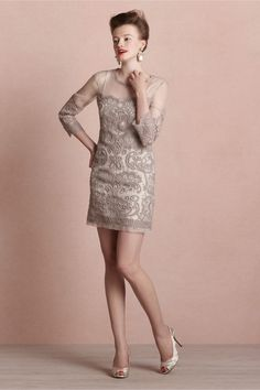 Arabesque Sheath in SHOP Bridesmaids & Partygoers #Dresses at #BHLDN #anthropologie ... Yoana Baraschi creates a mesmerizing trompe l'oeil effect by embroidering elaborate patterns over an impossibly delicate sheer silk shift. Trimmed in raw-edged chiffon with three-quarter sleeves. Back zip. Silk organza shell with cotton embroidery; viscose lining. Dry clean. Imported.