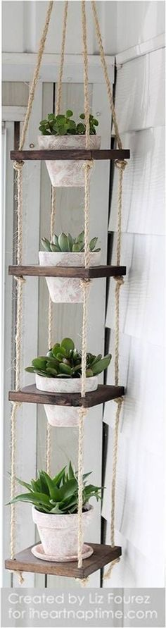 Best of Home and Garden: DIY Vertical Plant Hanger – I Heart Nap … - Garten ideen Hanging Plants, Indoor Plants, Indoor Herbs, Potted Herbs, Diy Hanging, Hanging Baskets, Hanging Wire, Diy Décoration, Diy Crafts