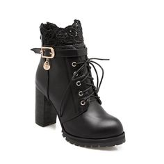 $27.30---Back Zipper with Lace and Heel Boots - BLACK 43