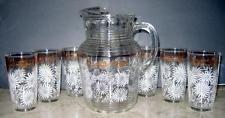 6 Vtg Glasses & Pitcher White/pink & Gold Daisies Flowers Hazel AtlasTumbler set