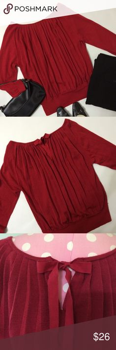 "Ann Taylor LOFT Pleated Sweater with a 🎀 Wool blended sweater with accordion style pleats all over the body of sweater and a key hole opening with bow on back (see pic 3). Size small it measures 18"" across chest laying flat(with roominess left, I didn't pull taunt) and about 22"" long...bundle to save more plus ⚡️📦📫😄💕 LOFT Sweaters Crew & Scoop Necks"