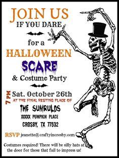 Halloween Printable, Skeleton, Invite, Diy Halloween