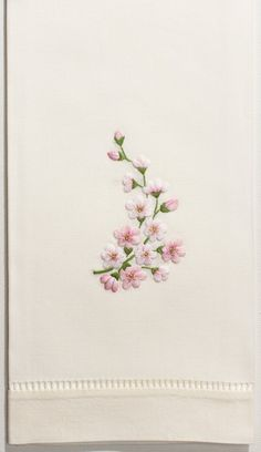 Orchid Spray Pink<br>Hand Towel - Ivory Cotton