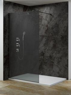 Inloopdouche glaswand met smoked glas (grijs) en het muurprofiel en stabilisatie stang in het zwart.Leverbaar in de breedte maten 90 cm en 120 cm en 140 cm.