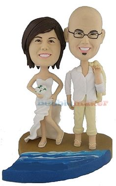 6248e63d5d1 Beach Wedding Couple Personalized Bobblehead Doll Our Custom made Bobble  Head Dolls - We sculpt our