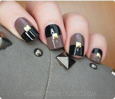 Geometryczne wzory są wciąż w modzie #autumn #nails