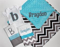 Personalized DOUBLE MINKY CHEVRON Baby Boy Stroller Blanket Plus 2 Burp Cloths and Initial Bodysuit - Turquoise and Gray on Etsy, $54.00