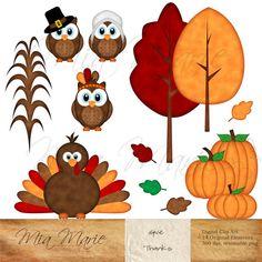 INSTANT DOWNLOAD - Digital Clip Art - Thanksgiving clipart, Thanksgiving clip art, Fall clip art, Owl Clipart, Owl Clip Art, Turkey, Pilgrim...