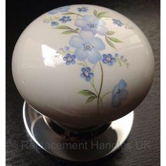 Ceramic Porcelain Forget me Knot Mortice Internal Door Knobs