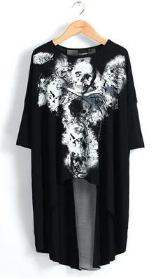 Trendy shirt...Check on Ahai! #Skull #dovetail #t #shirt 3108 #black #white #black #sleeves #long #ahai @AHAI