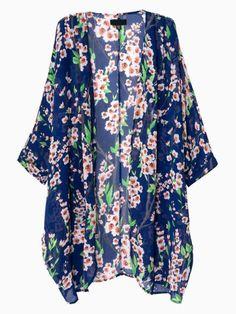 a58c3d94a43 Blue Sakura Print Kimono Sunscreen Chiffon Coat Boho Mode, Natkjole,  Jakker, Nuttet Tøj