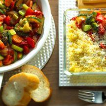 Gemüsepfanne und Couscous-Auflauf