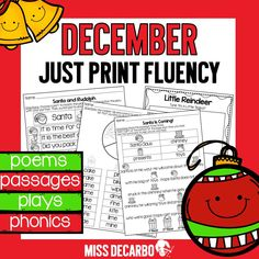 "Fluency practice should be fun! This Christmas pack contains 20 fluency activities for your beginning readers. Take back your planning time with ""just print,"" ink-friendly pages to promote reading fluency, comprehension, and reading engagement. Reading Fluency, Reading Intervention, Reading Passages, Guided Reading, Fluency Activities, Phonics Worksheets, Fluency Practice, Text Evidence, Beginning Reading"