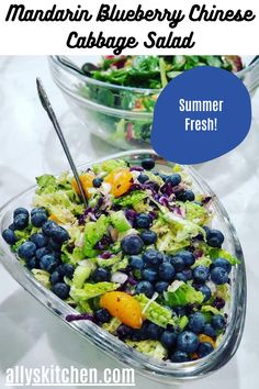 So simple healthy easy and different with the mandarins and blueberries, it's the kind of salad that makes a meal. #easysalad #saladrecipe Easy Salads, Summer Salads, Good Healthy Recipes, Easy Recipes, Chinese Cabbage Salad, Mandarin Orange Salad, Cabbage Salad Recipes, Rich Recipe, Kinds Of Salad