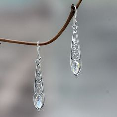 Shop for Sterling Silver 'Jasmine Dew' Rainbow Moonstone Earrings. Get free delivery On EVERYTHING* Overstock - Your Online Jewelry Destination! Earrings Handmade, Handmade Jewelry, Unique Jewelry, Jewelry Ideas, Moonstone Earrings, Dangle Earrings, Beads And Wire, Rainbow Moonstone, Sterling Silver Necklaces