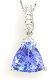 Blue Tanzanite Necklace. Item #318-3536916  2.20 ct Tanzanite Trillion & 0.06 ctw Diamond Round 14K White Gold Pendant Length 18 - Gem Shopping Network