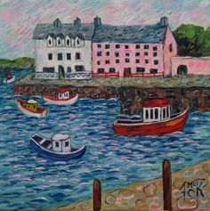 "Bunbeg Harbour, Donegal. 12"" x 12"" oil"