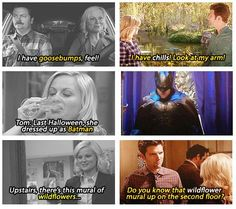 Parks and Rec. you genius writers you! (Although Ben knew about Leslie's love for the mural) Parks And Recreation Ben, Parks And Rec Memes, Parks And Recs, Movies Showing, Movies And Tv Shows, Are You Not Entertained, Watch Tv Shows, Movie Couples, Best Shows Ever