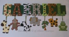 4 carta nombre personalizado jungla Safari Zoo por AlbonsBoutique