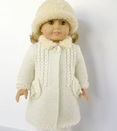 Winter Wonderland - white coat and hat - PDF knitting pattern for American Girl dolls, Permission to Sell ☆ Knitting Dolls Clothes, Ag Doll Clothes, Crochet Doll Clothes, Knitted Dolls, Doll Clothes Patterns, Clothing Patterns, Doll Patterns, Dolly Fashion, American Doll Clothes