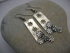 OOPS SALE Positive and Negitive Flower Fine Silver PMC Precious Metal Clay Earrings punch: