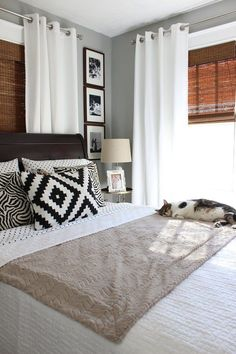 Valspar Granite Dust paint, grommet curtains over bamboo shades, window trim, white bed linens Window treatment for back room Color Palette For Home, Home Bedroom, Bedroom Decor, Bedroom Curtains, Bedroom Ideas, Bedroom Furniture Placement, Bedroom Designs, Bedroom Inspiration, Bedroom Rugs