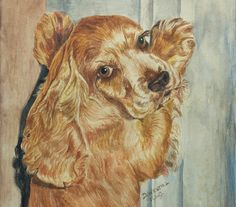 Original Watercolor of Cocker spaniel Dog Painting by QuirkMuseum