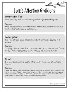 examples of essay hooks hook c lead c attention grabber lead sentence chart for narrative opinion and informational text writing sample attention grabbers that can be used for narrative or expository
