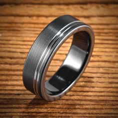 Black Zirconium Bi-Color Ring with Two Offset Stripes from Spexton Custom Jewelry