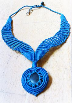 Royal blue and Brazilian Blackstoen macrame necklace by woodnbead