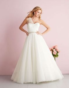 Discount White One-Shoulder A-Line Tulle Trumpet/Mermaid Wedding Dresses China Free Measurement