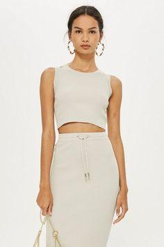 c08434f4c1d70 Womens Petite Strap Detail Crop Top - Grey