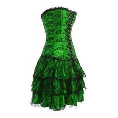 Green Layered Lace Corset Dress (£27) ❤ liked on Polyvore featuring dresses, corset, green, short dresses, green corset, mini dress, lace corset, lace cocktail dress and green lace dress