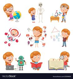 Find Vector Illustration Little Girl Studying Science stock images in HD and millions of other royalty-free stock photos, illustrations and vectors in the Shutterstock collection. Thousands of new, high-quality pictures added every day. Kids Food Crafts, Schedule Cards, Material Design Background, Kids Cuts, Cute Cartoon Girl, School Subjects, Felt Diy, Kids Education, Book Design