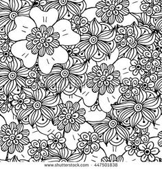 Vector floral seamless pattern. Doodle style. Coloring book page for adult.