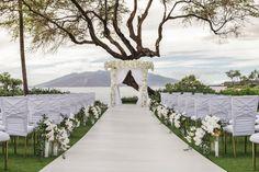 White Wedding Ceremony in Hawaii Wedding Week, Hawaii Wedding, Wedding Ceremony, Ocean View Wedding, Wedding Venue Decorations, Chuppah, Local Events, Grand Entrance, Glamorous Wedding