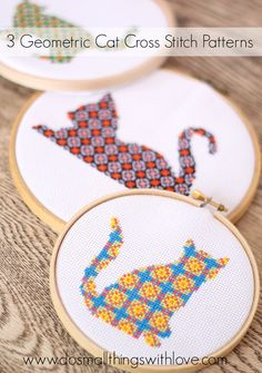 Hoops are fun and quick to 'frame' finished stitches. (Plus these geometric style kitten charts are catching our eyes!)