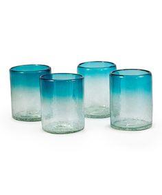 Love this Aquamarine Tumbler Glass - Set of Four on #zulily! #zulilyfinds
