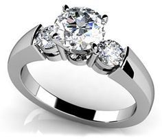 18k White, Triple Diamond Engagement Ring, 0.8-1.55 ct. (Color: GH, Clarity: SI1): Jewelry: Amazon.com