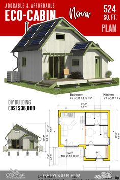 Eco-friendly green living often means a small carbon footprint and Eco-Cabin Nova is indeed small. It is obvious that a one-bedroom house can be much greener than 10 bedrooms mansion. Tiny Cabin Plans, Small House Plans, One Bedroom House Plans, Little House Plans, Small Floor Plans, Building Costs, Building A Tiny House, Cottage Floor Plans, Cabin Floor Plans