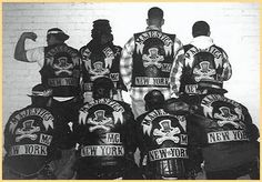 it's deadlicious™: New York City street gangs in the Motorcycle Logo, Motorcycle Clubs, Motorcycle Jackets, The Babadook, Bike Gang, Gangs Of New York, Biker Patches, Jacket Patches, Biker Clubs