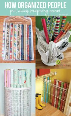 to Organize Wrapping Paper DIY Organization ideas for Christmas wrapping paper. I LOVE that metal trash can idea!DIY Organization ideas for Christmas wrapping paper. I LOVE that metal trash can idea! Wrapping Paper Organization, Craft Organization, Organizing Ideas, Organizing Drawers, Office Organization At Work, Craft Room Storage, Diy Storage, Closet Storage, Craft Storage Ideas For Small Spaces