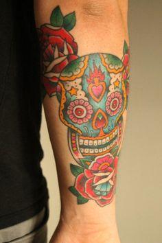 sugar skull tattoo arm