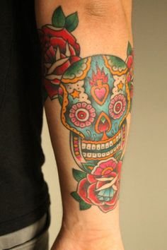 sugar skull tattoo arm - love the sacred heart