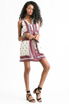 Sanctuary Craft Scarf Shirt Dress in BERRY