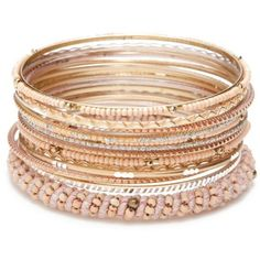 Red Camel Pink Gold-Tone Precious Pastels 15-Piece Bangle Bracelet Set (87 MXN) ❤ liked on Polyvore featuring jewelry, bracelets, accessories, pink, pastel jewelry, pink jewelry, hinged bracelet, beaded bangles and pink bangles