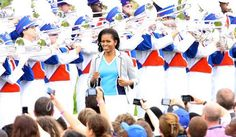 The first lady is in London to celebrate the start of Olympic festivities. See more of her patriotic style here:   http://mrs-o.com/newdata/2012/7/27/olympic-spirit.html