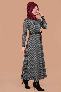 Kazayağı Desen Tesettür Elbise  Gri Ürün kodu: MDP4018-1--> 39.90 TL
